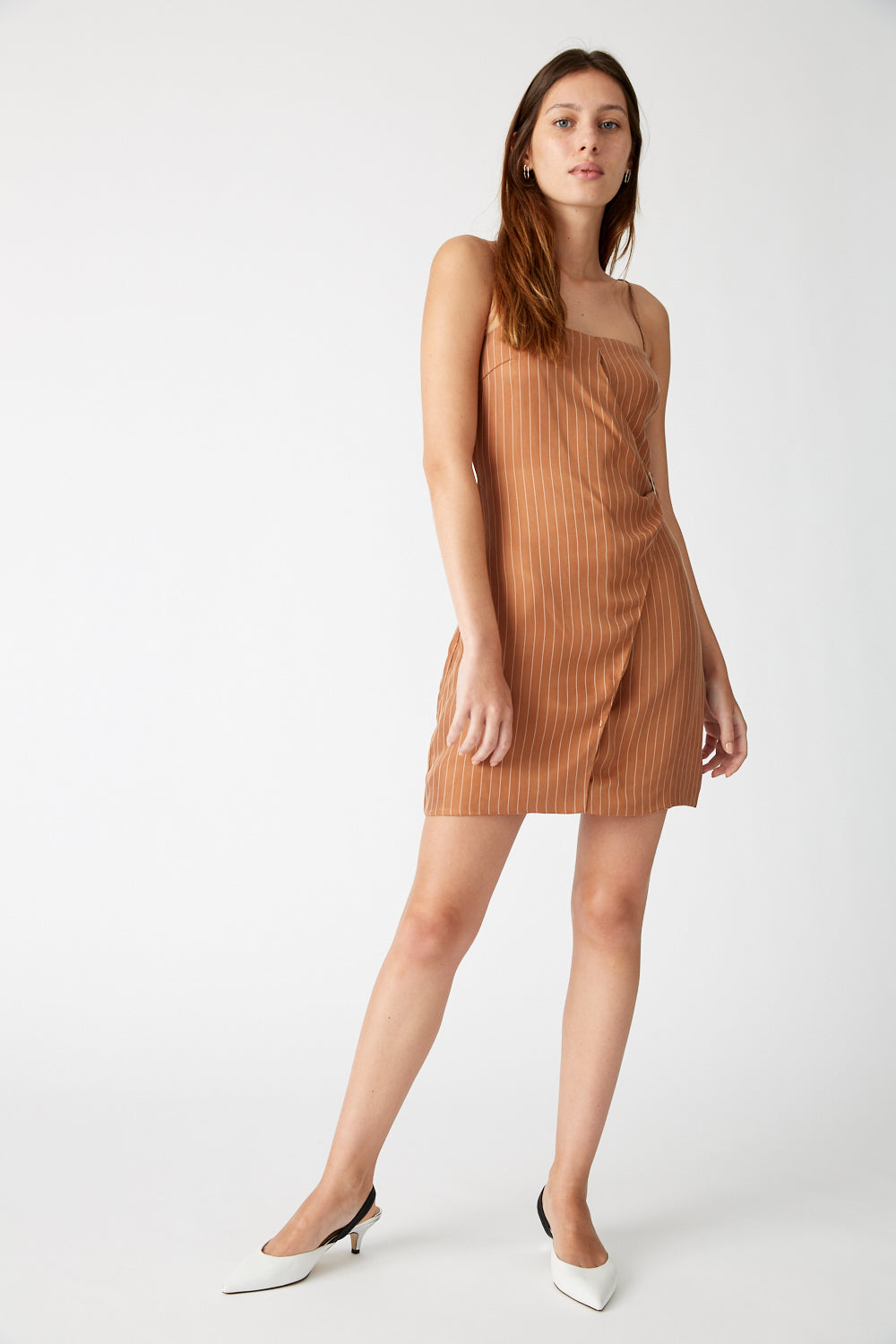 HERE BEFORE MINI DRESS | TAN STRIPE