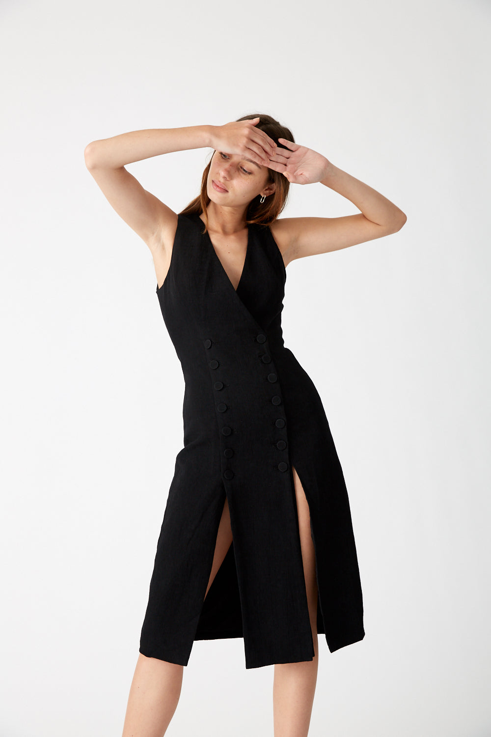 CLOSURE MIDI DRESS | BLACK