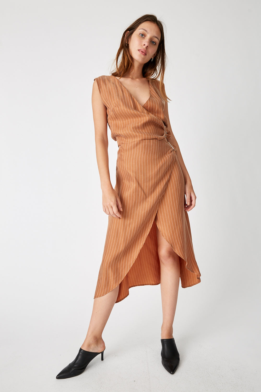 HERE BEFORE WRAP SKIRT | TAN STRIPE