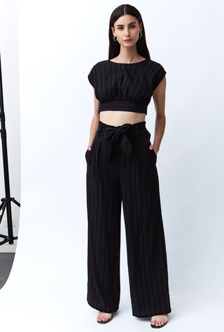 TIED IN TROUSER | BLACK STRIPE