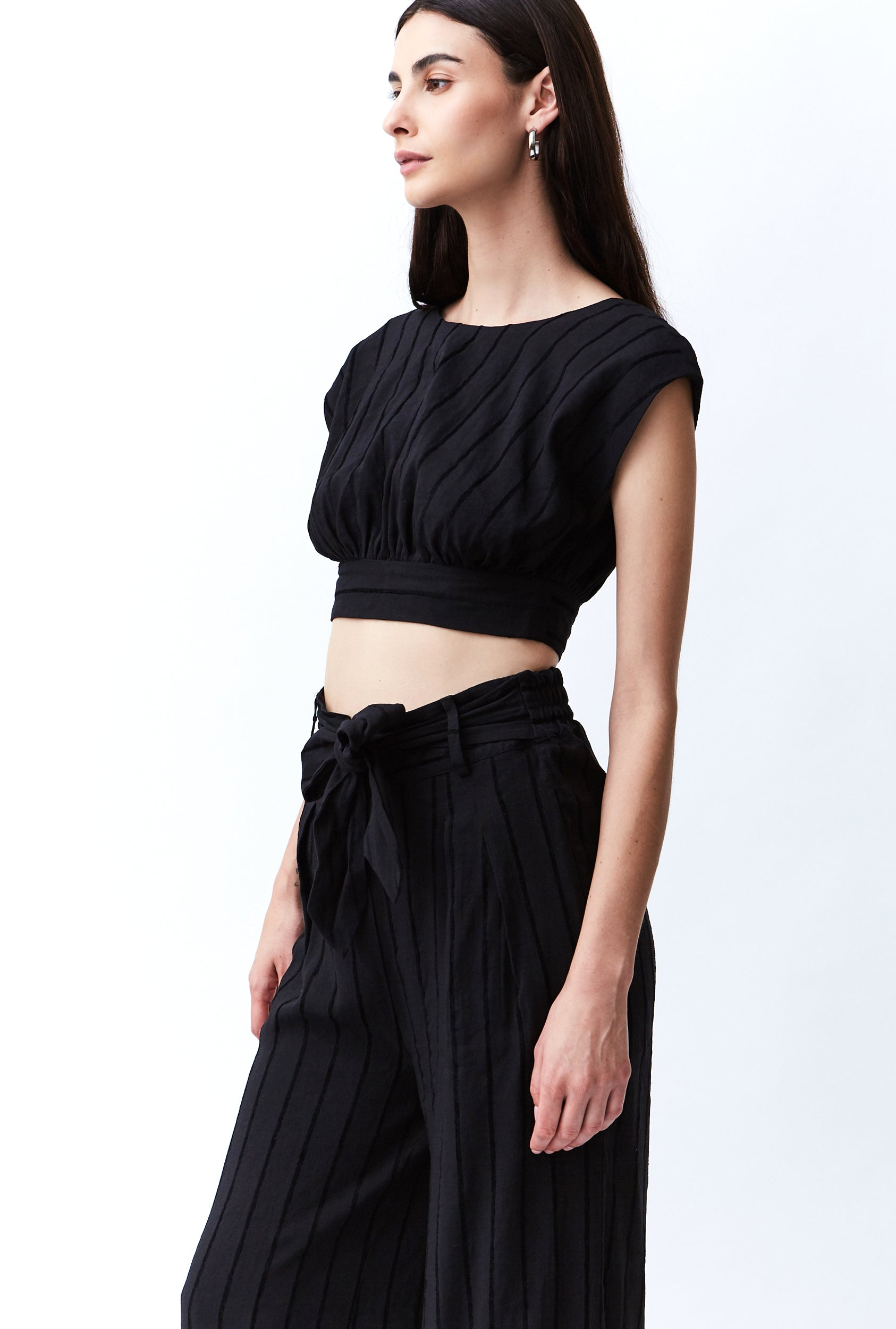 TIED IN LINEN TROUSER | BLACK STRIPE