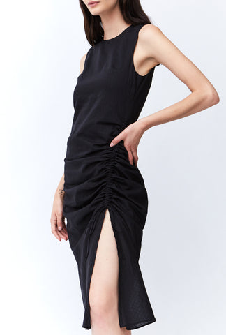 STRAIGHT OUT MIDI DRESS | BLACK STRIPE