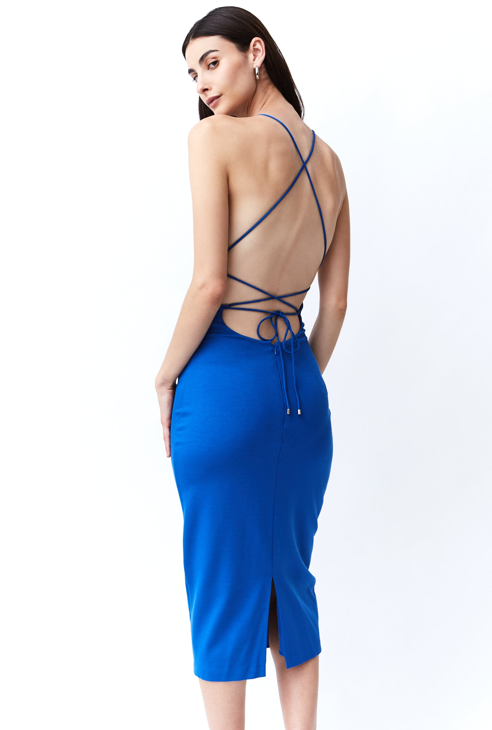 LACE UP MIDI DRESS | AZURE
