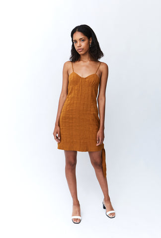 TIED IN MINI DRESS | COPPER STRIPE