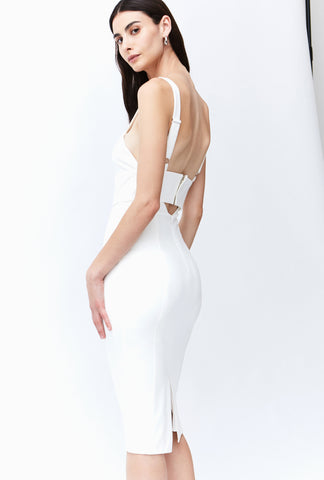 BANDED MIDI DRESS | WHITE