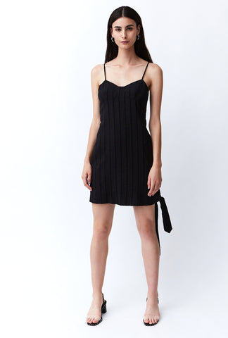 TIED IN MINI DRESS | BLACK STRIPE