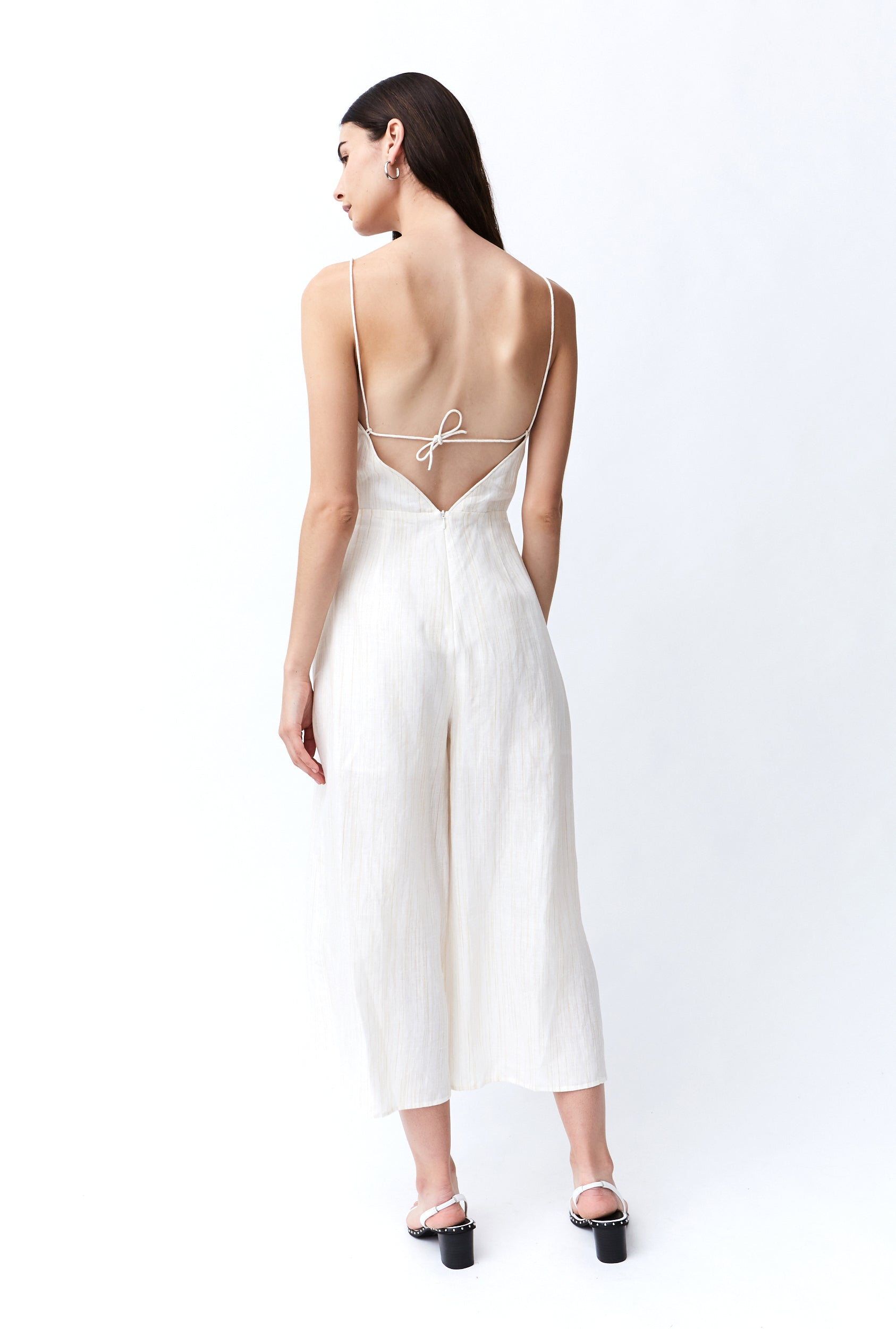 SENRO TIE BACK LINEN JUMPSUIT | STRAW STRIPE