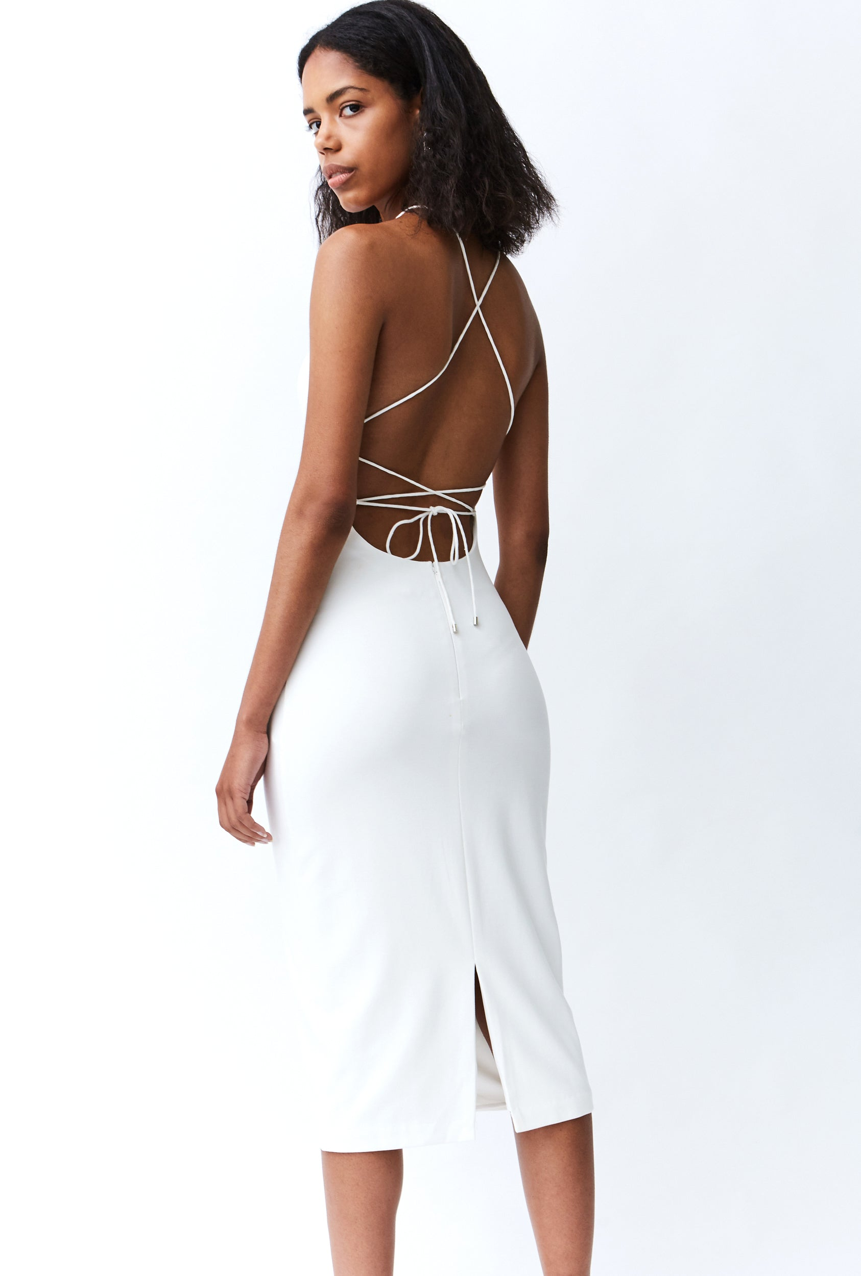 LACE UP MIDI DRESS | WHITE