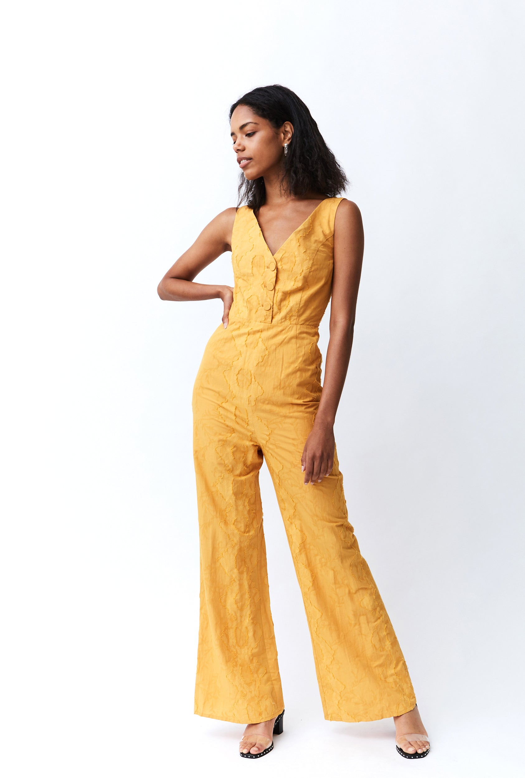 FIELDS BUTTON UP JUMPSUIT | HONEY