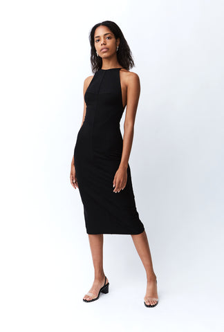 LACE UP MIDI DRESS | BLACK