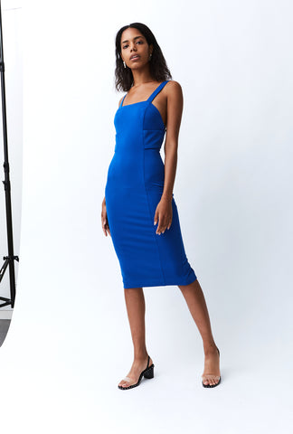 BANDED MIDI DRESS | AZURE