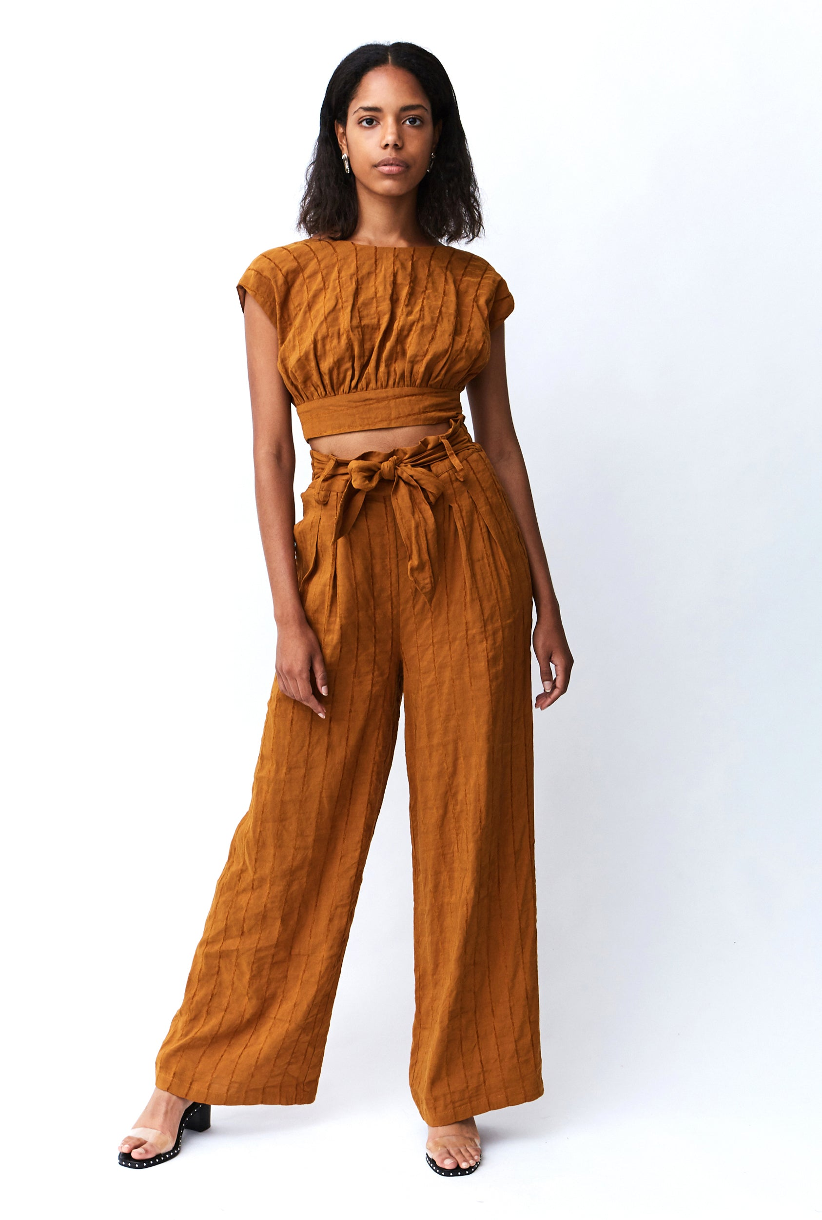 TIED IN LINEN LINEN TROUSER | COPPER STRIPE