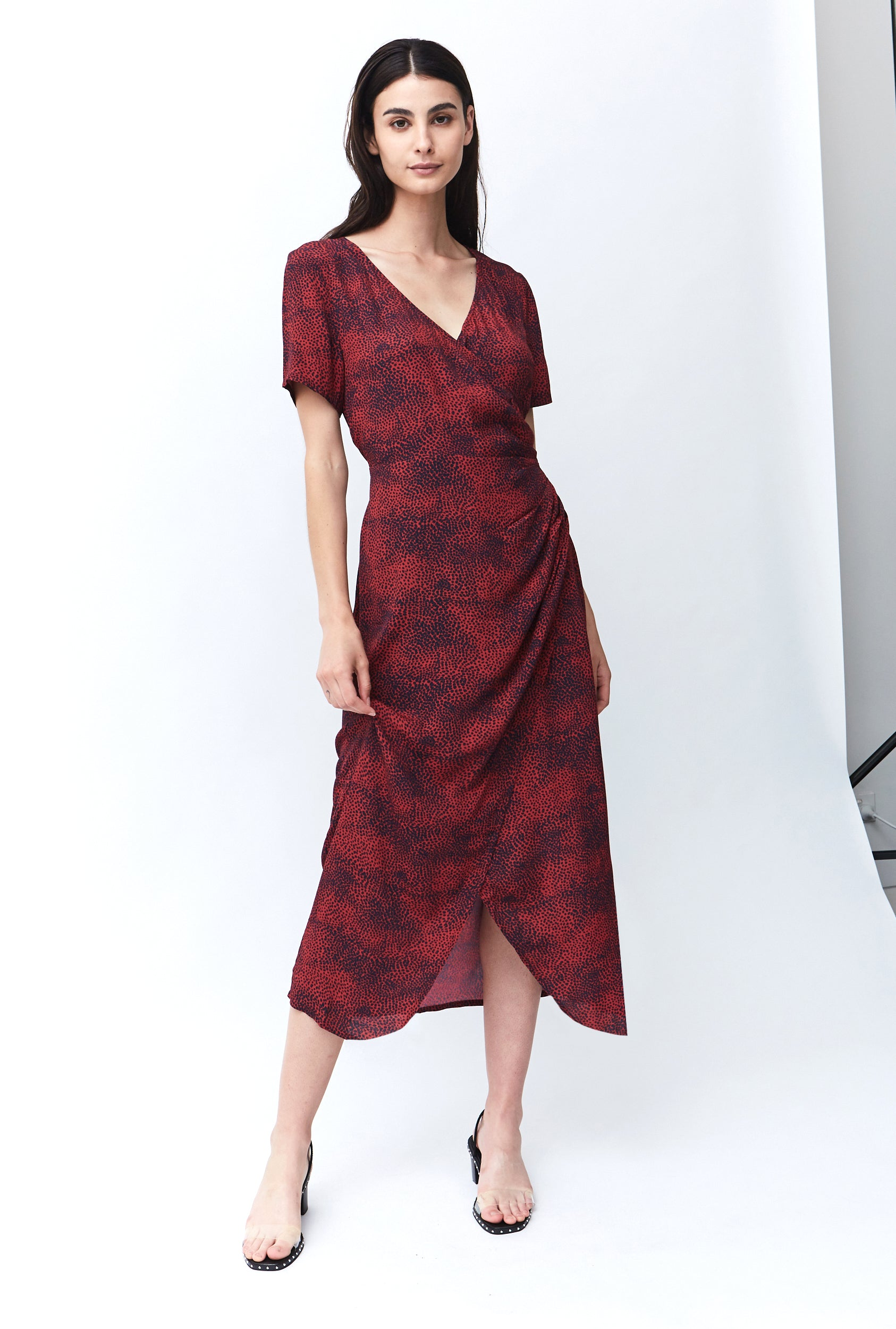 HUNTED WRAP MAXI DRESS  | CHERRY