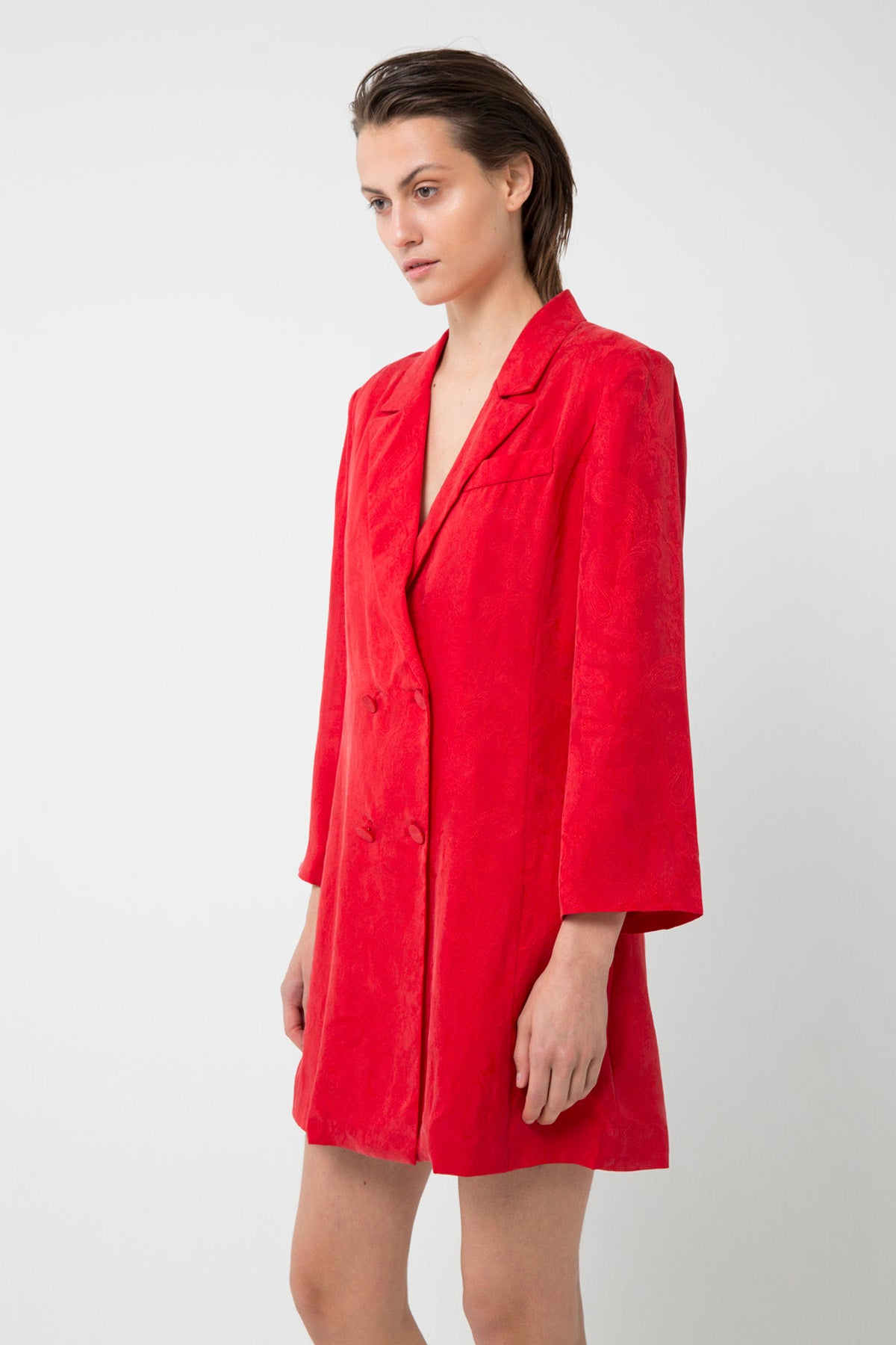 PAISLEY SOFT BLAZER DRESS | FLAME