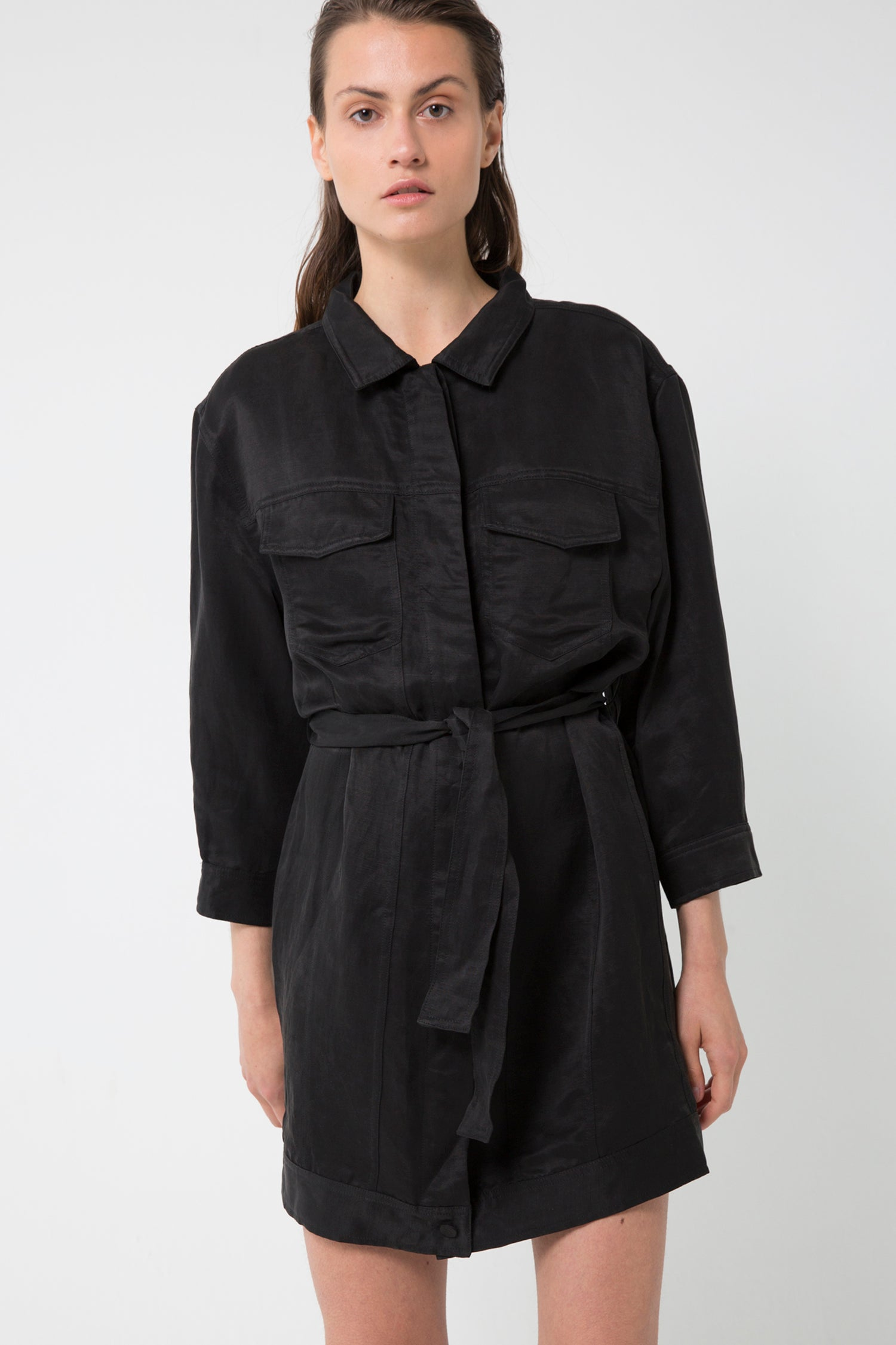 TRUCKER JACKET DRESS | BLACK