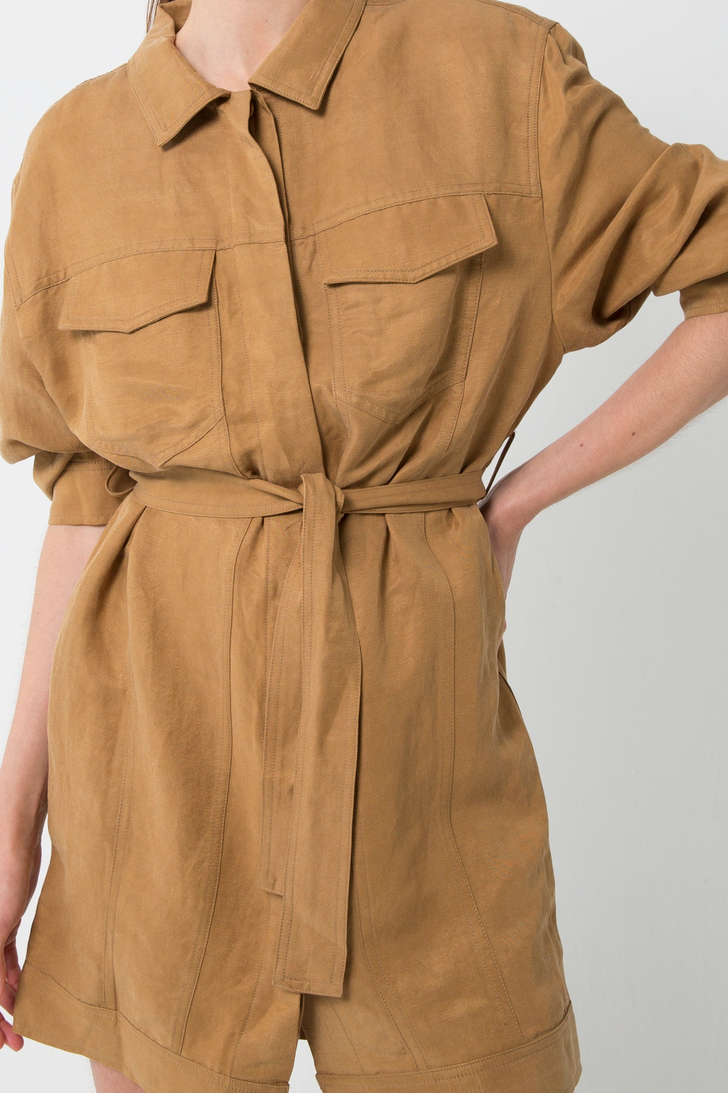 TRUCKER JACKET DRESS | CAMEL