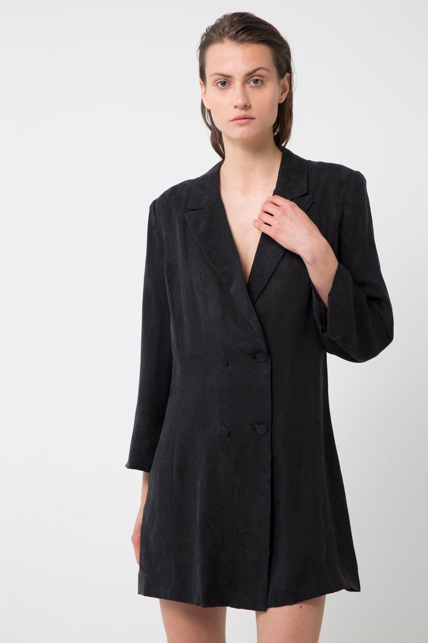 PAISLEY SOFT BLAZER DRESS | BLACK
