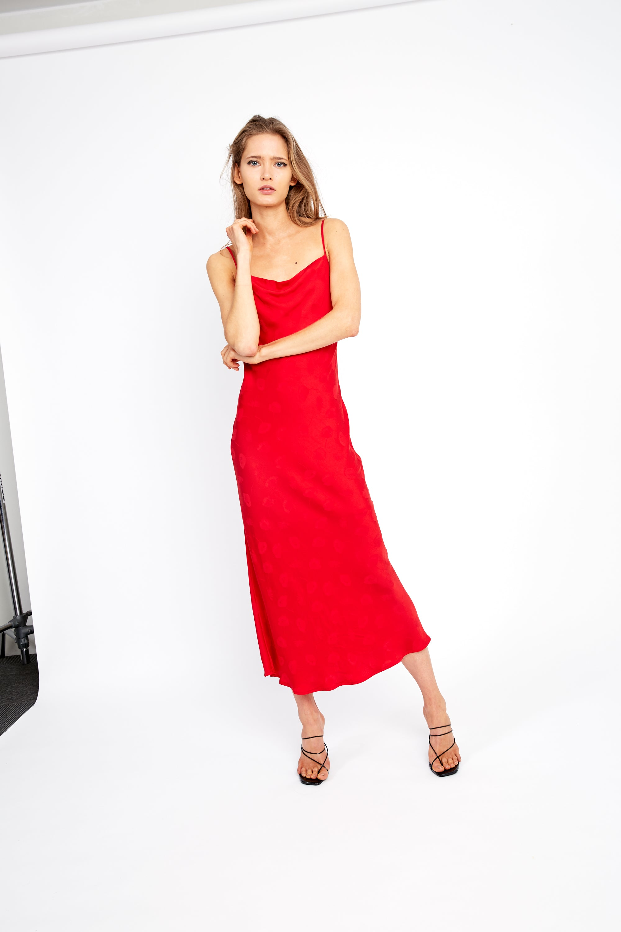 MOSAIC BIAS SLIP DRESS | RED ROSE