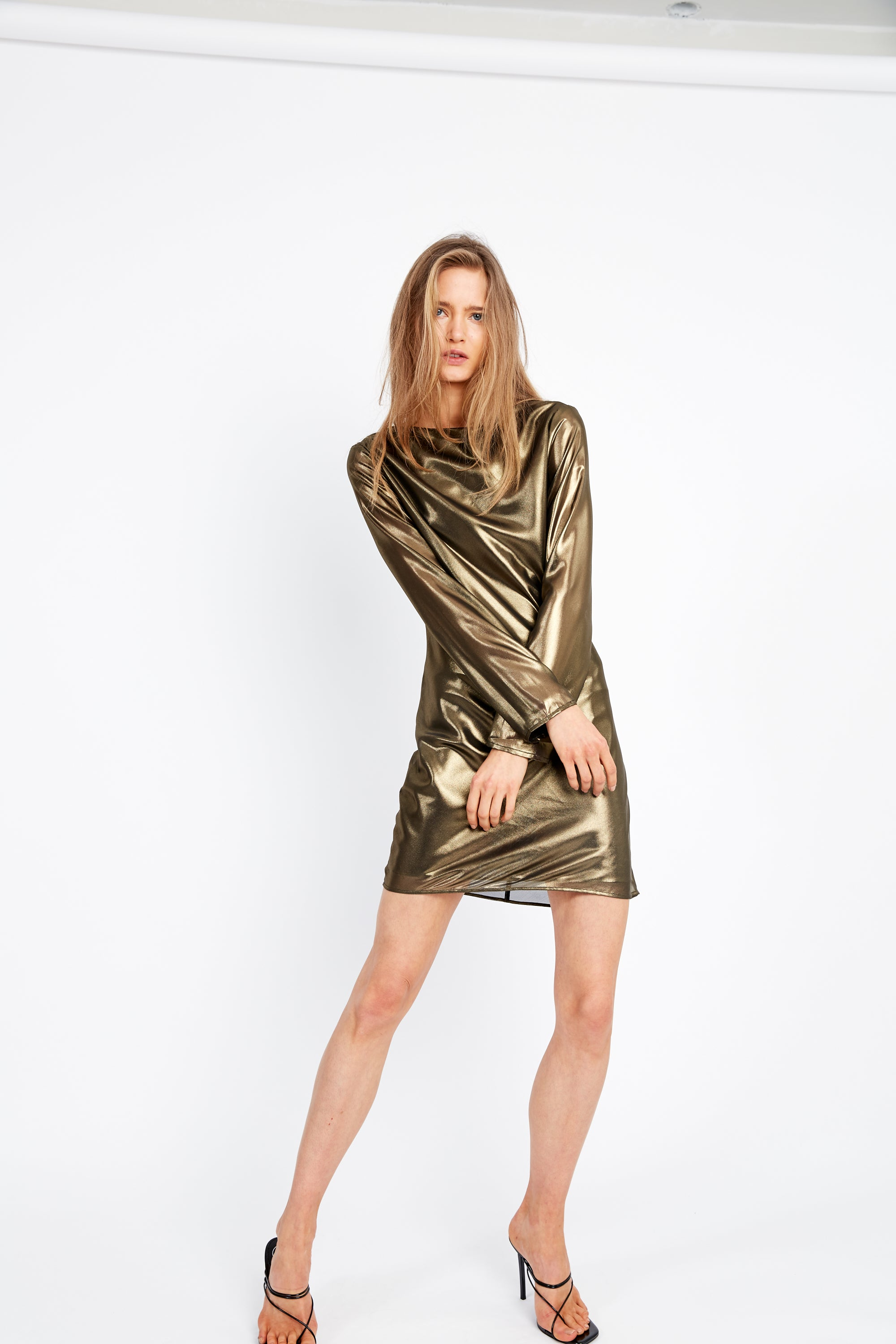 MIRROR MIRROR BIAS LS DRESS | BRASS