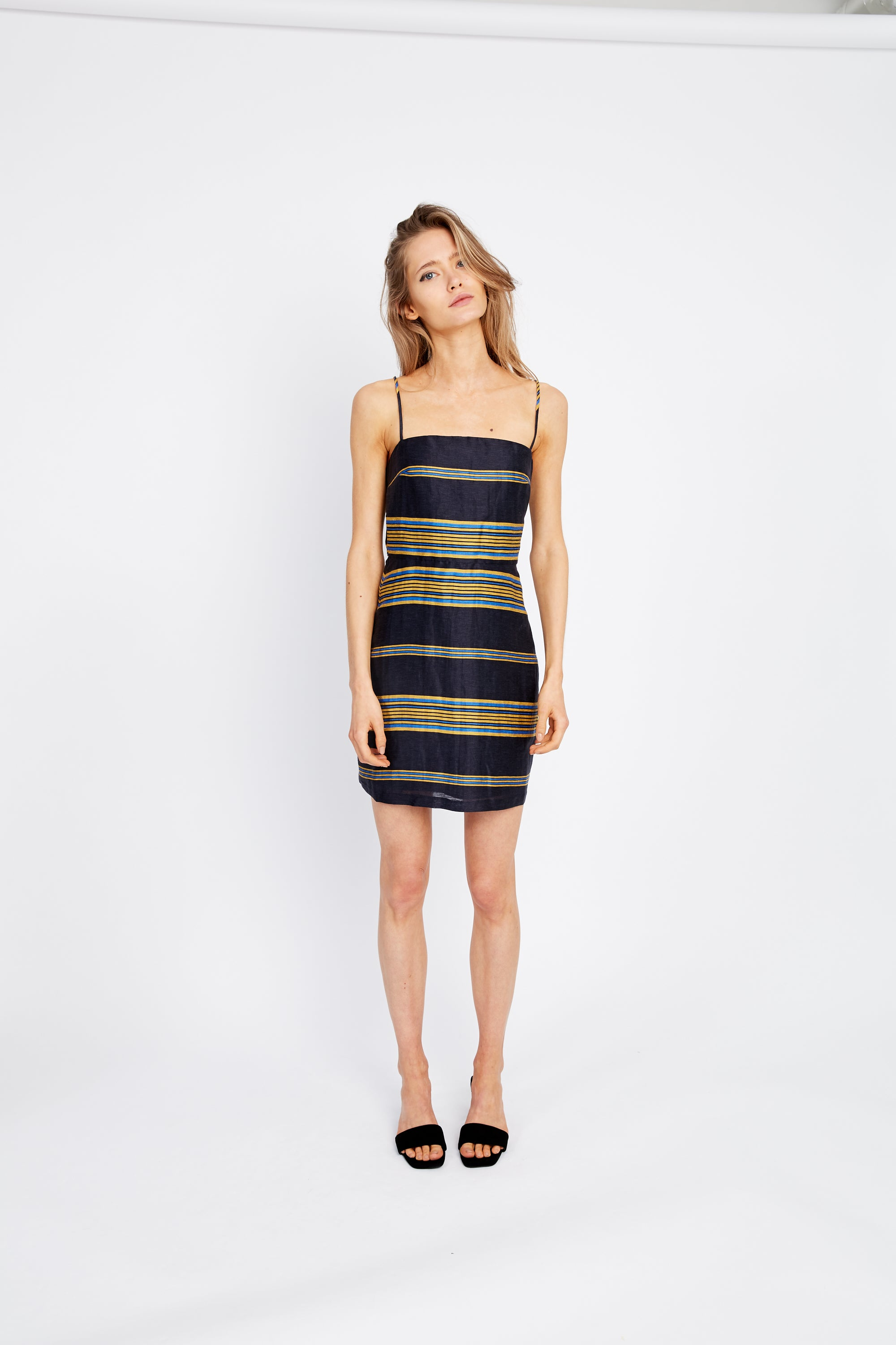 PARALLELS MINI DRESS | NAVY STRIPE