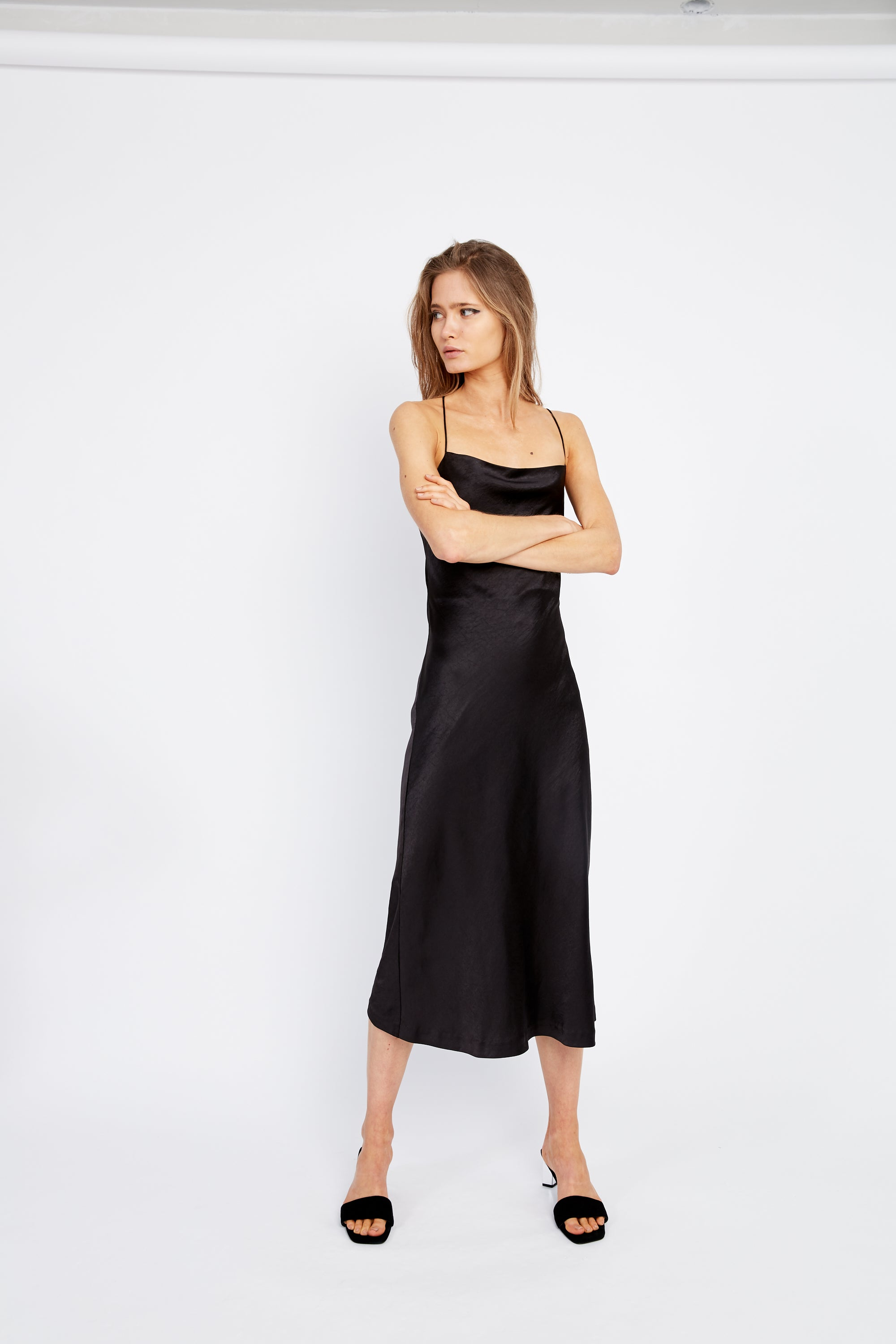 ESCAPE BIAS SLIP DRESS | BLACK