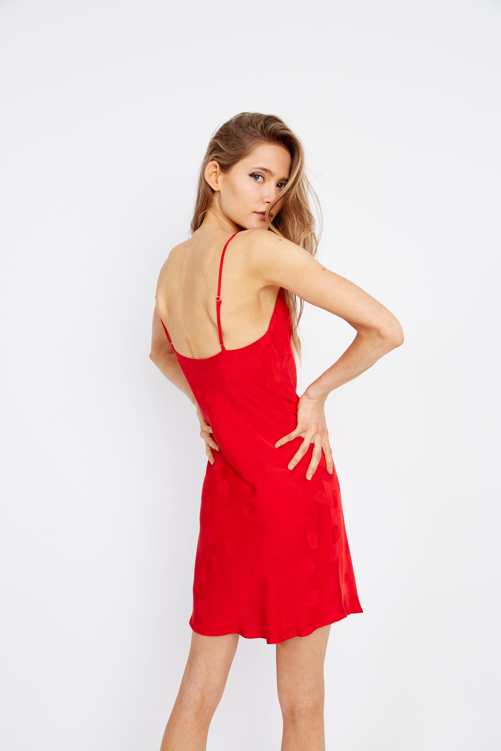 MOSAIC BIAS MINI DRESS | RED ROSE