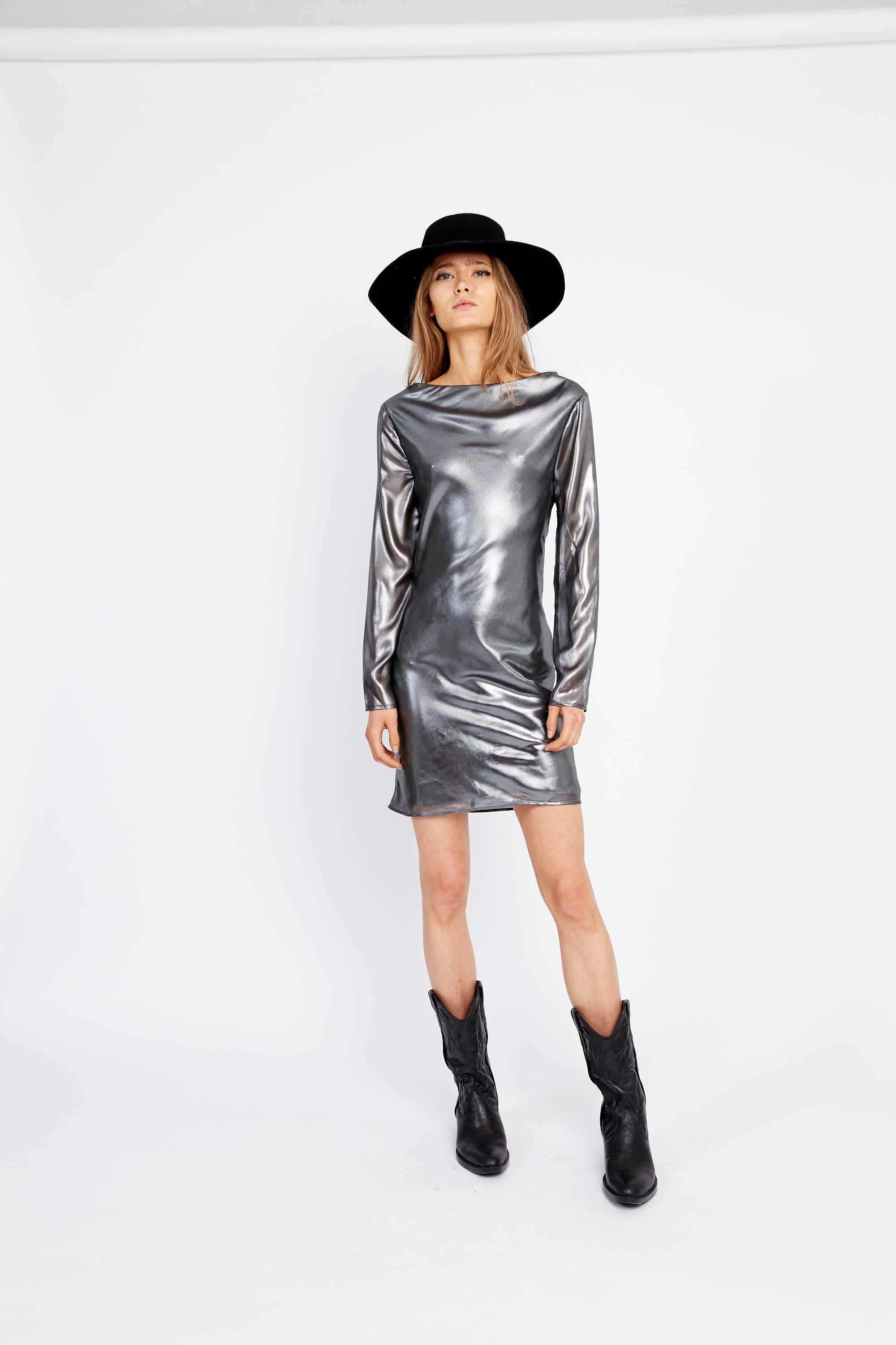 MIRROR MIRROR BIAS LS DRESS | SILVER