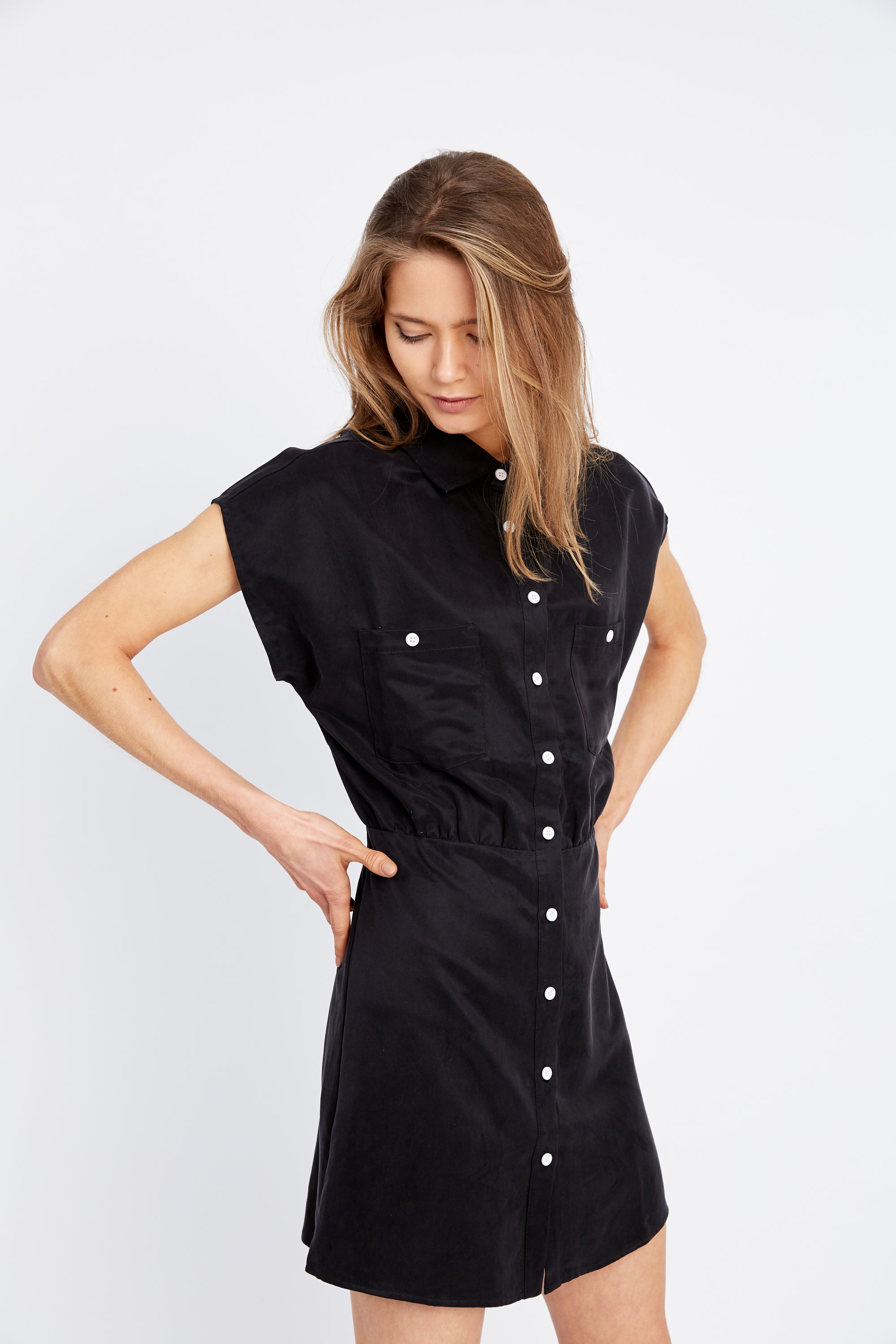 VICE VERSA SHIRT DRESS | BLACK