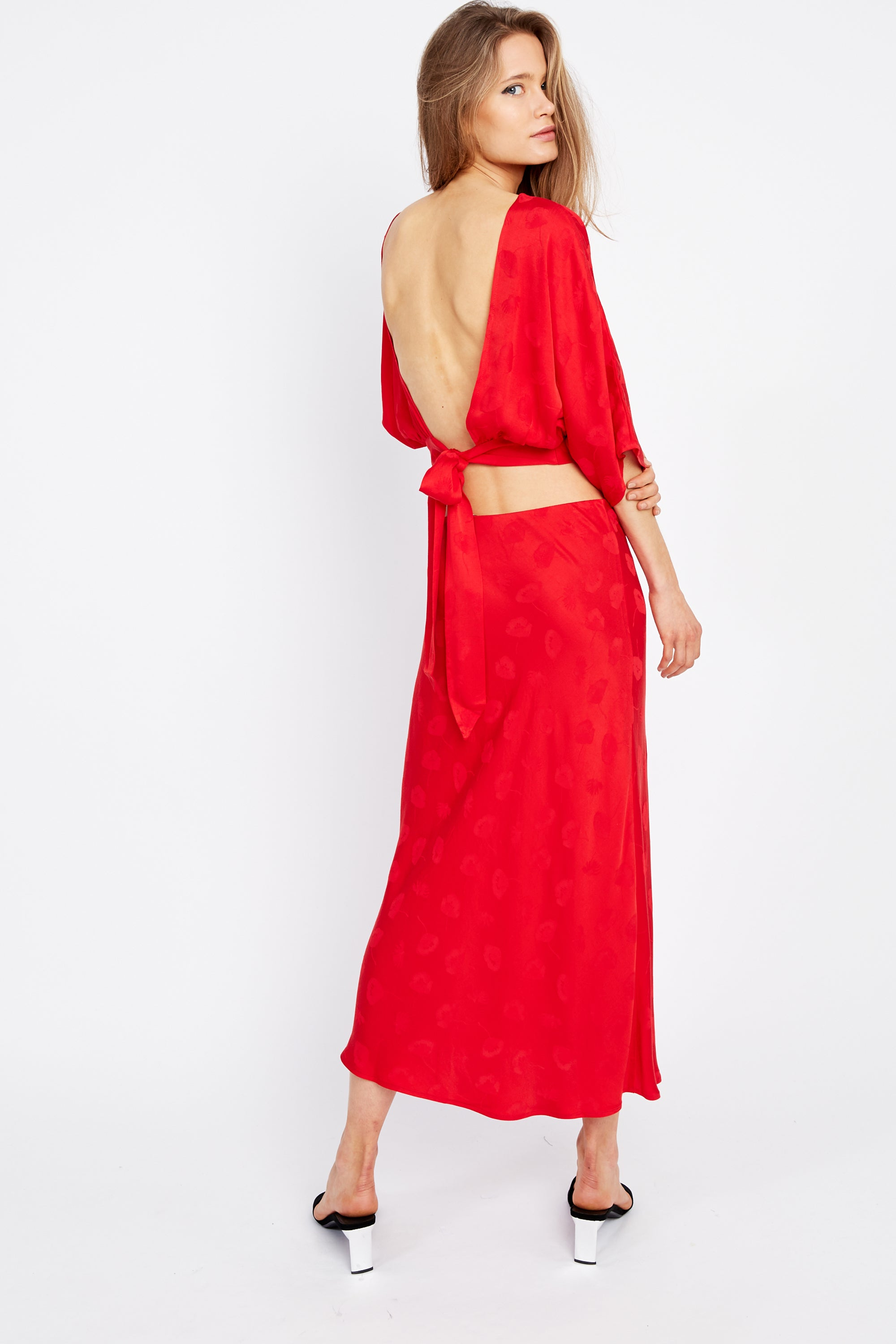 MOSAIC BIAS MIDI SKIRT | RED ROSE