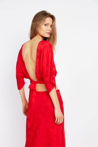 MOSAIC TIE BACK BLOUSE | RED ROSE
