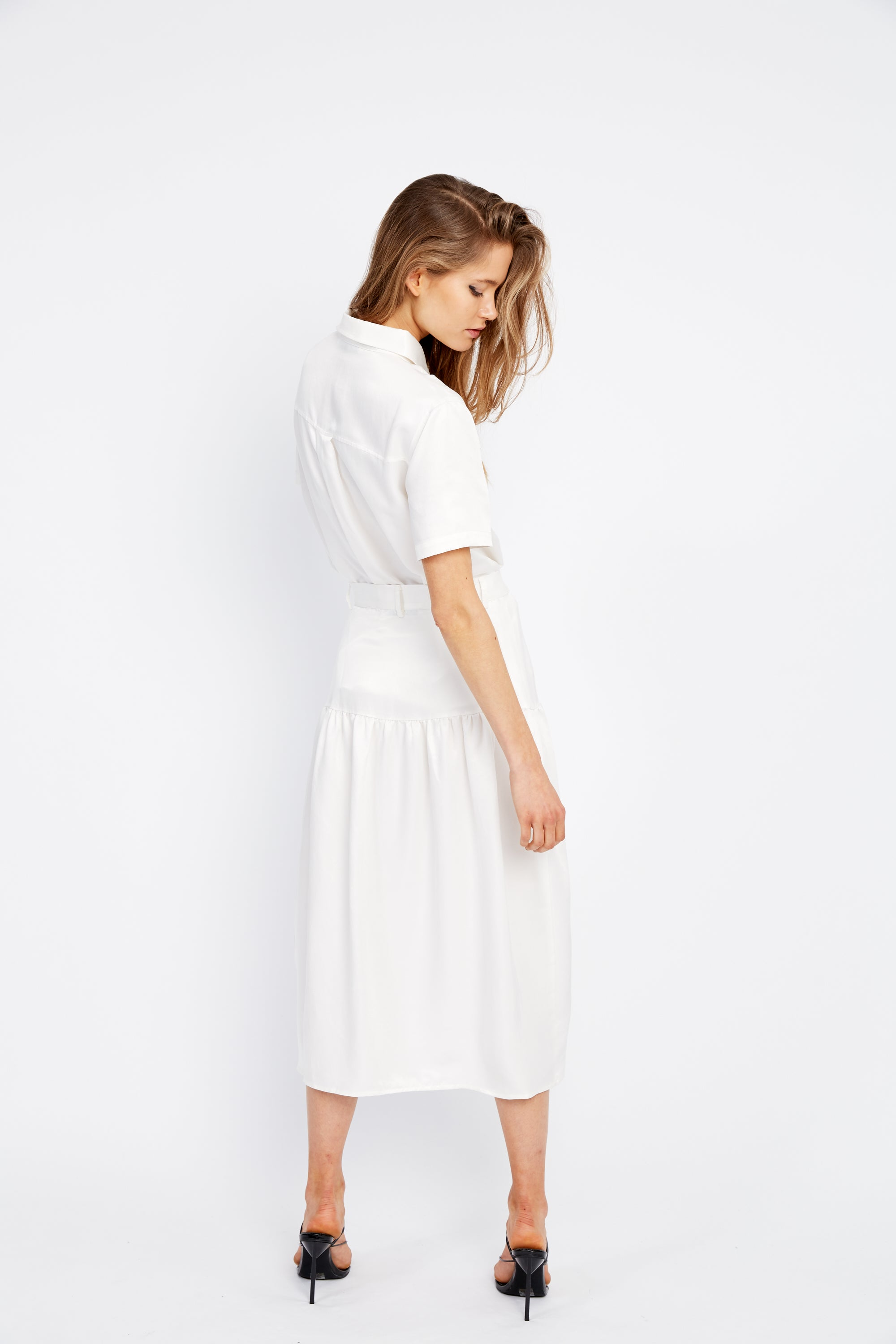VICE VERSA MIDI SKIRT | OFF WHITE