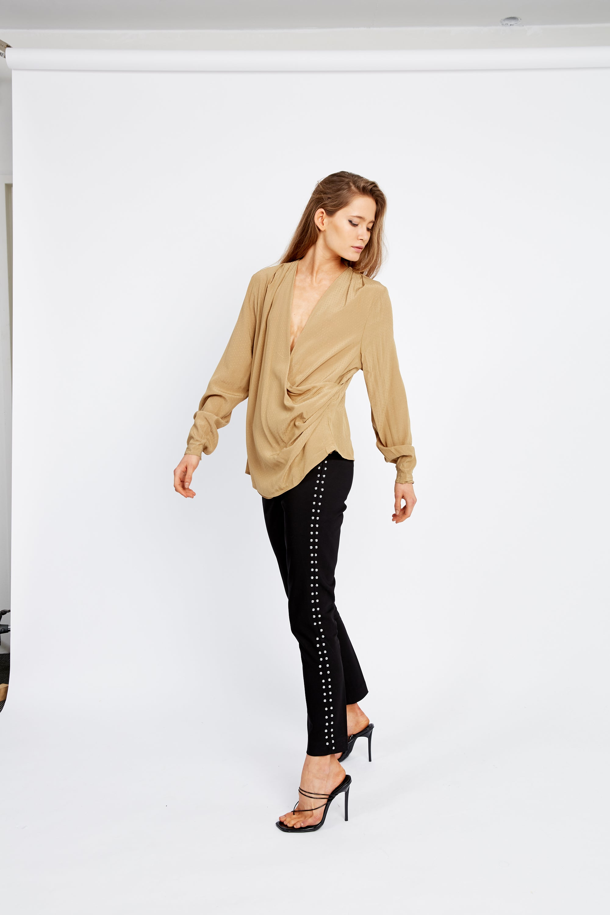 DRAWN IN CROSS OVER BLOUSE | TAN