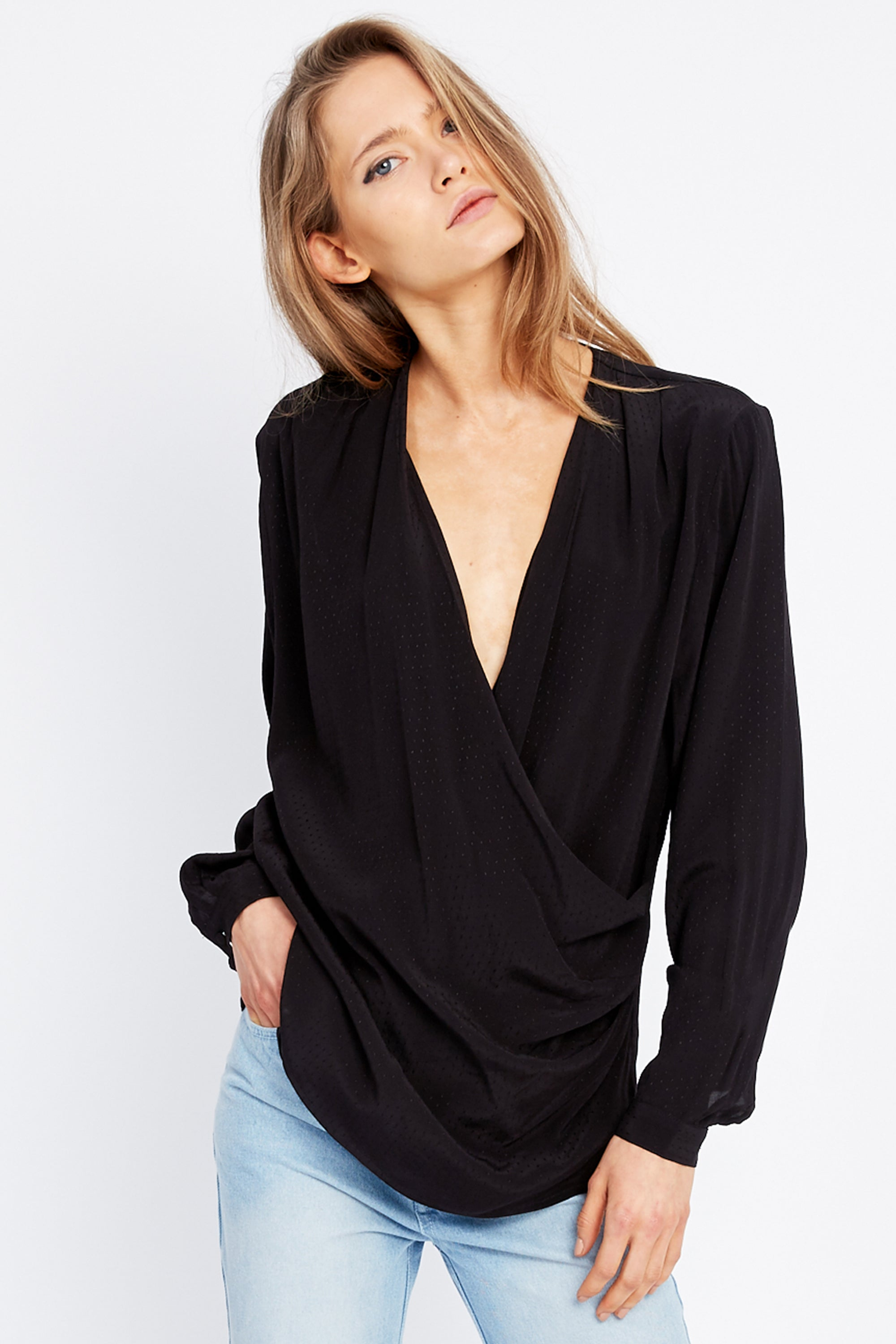 DRAWN IN CROSS OVER BLOUSE | BLACK