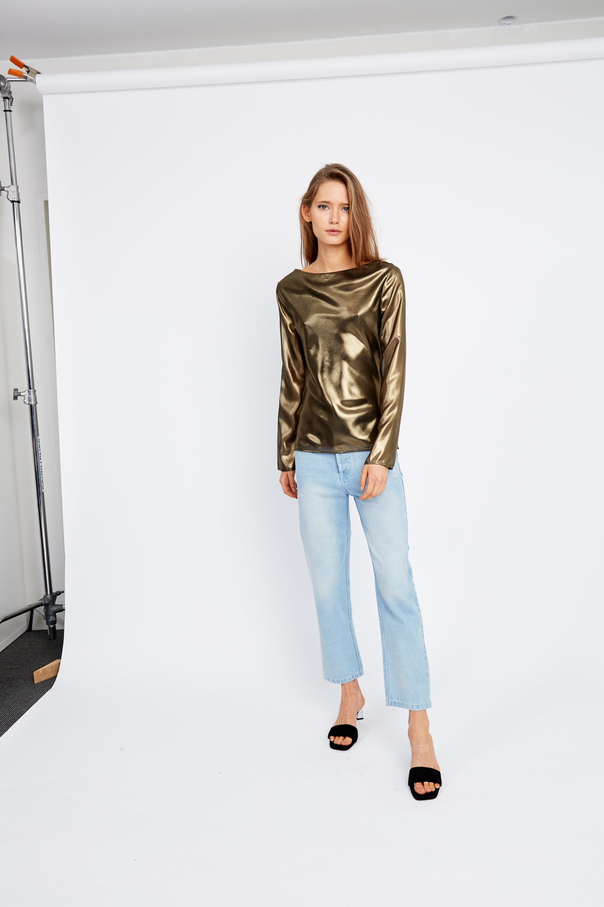MIRROR MIRROR BIAS BLOUSE | BRASS