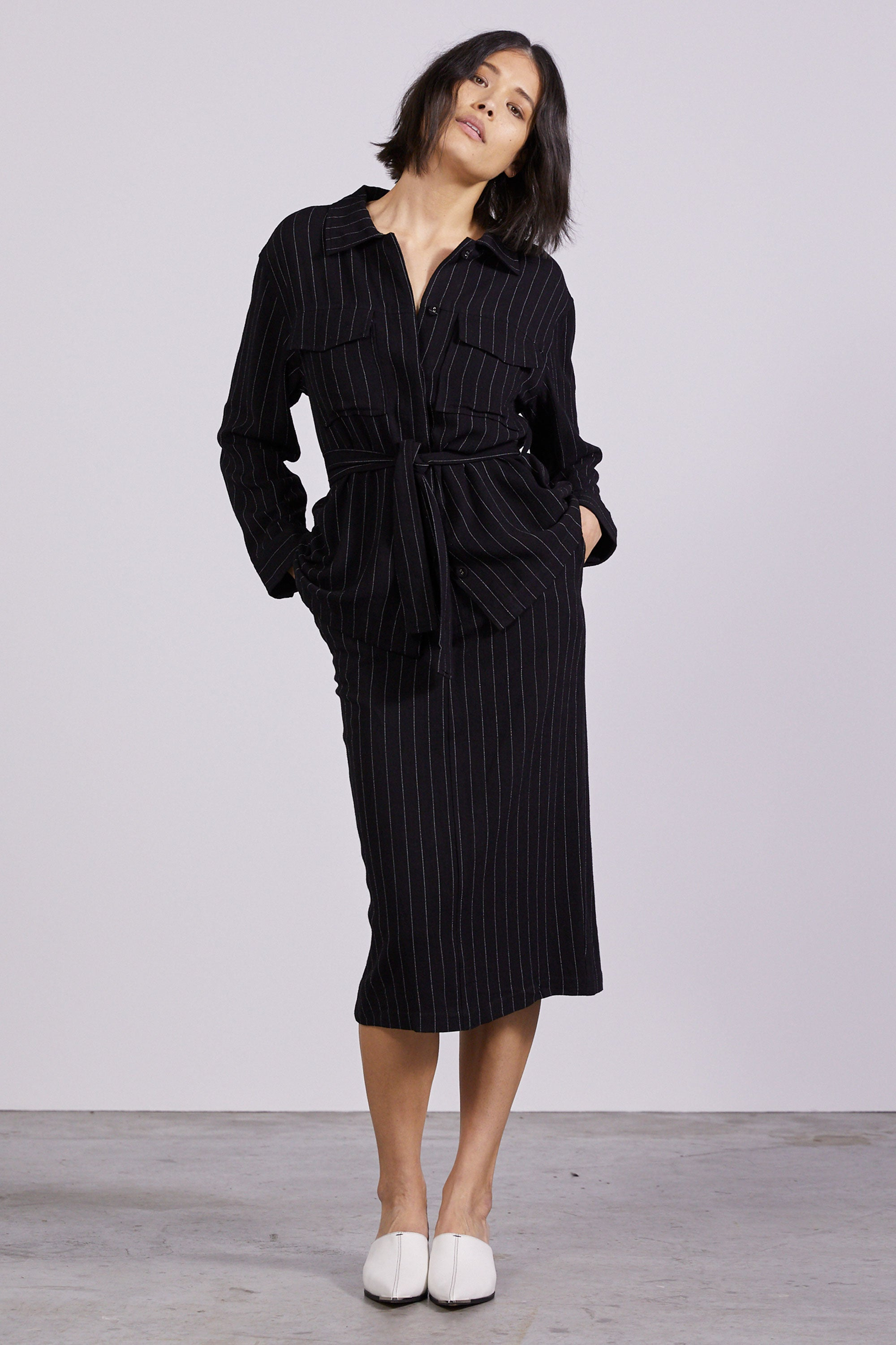 PICNIC STRIPE TAILORED POCKET JACKET | BLACK STRIPE