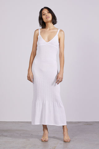 FLARE OUT KNIT SLIP DRESS | WHITE