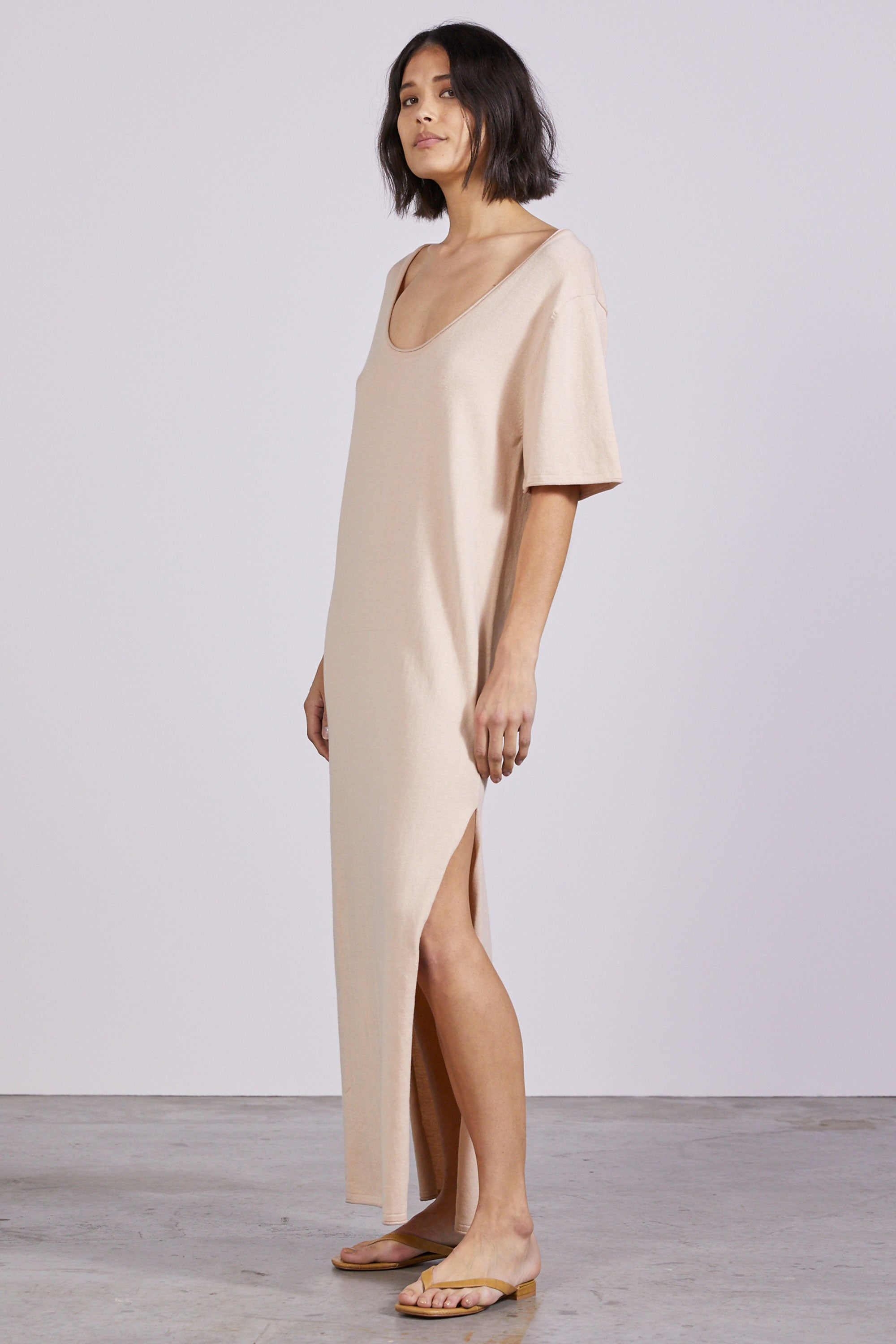 ROLL UP KNIT MAXI TEE DRESS | NATURAL