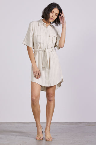 PICNIC STRIPE SHIRT DRESS | STRAW STRIPE