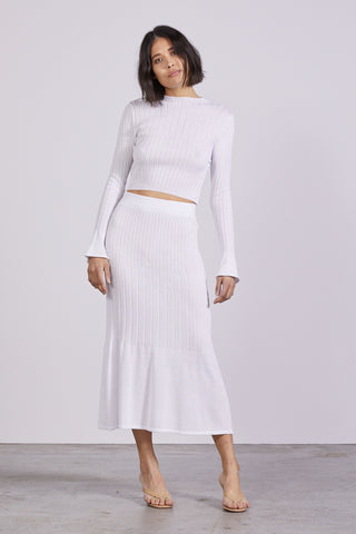 FLARE OUT KNIT SKIRT | WHITE