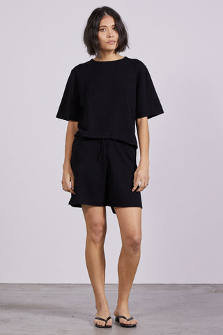 ROLL UP KNIT TEE | BLACK