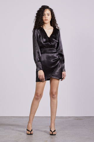 ALLURE SATIN DRAPE DRESS | BLACK