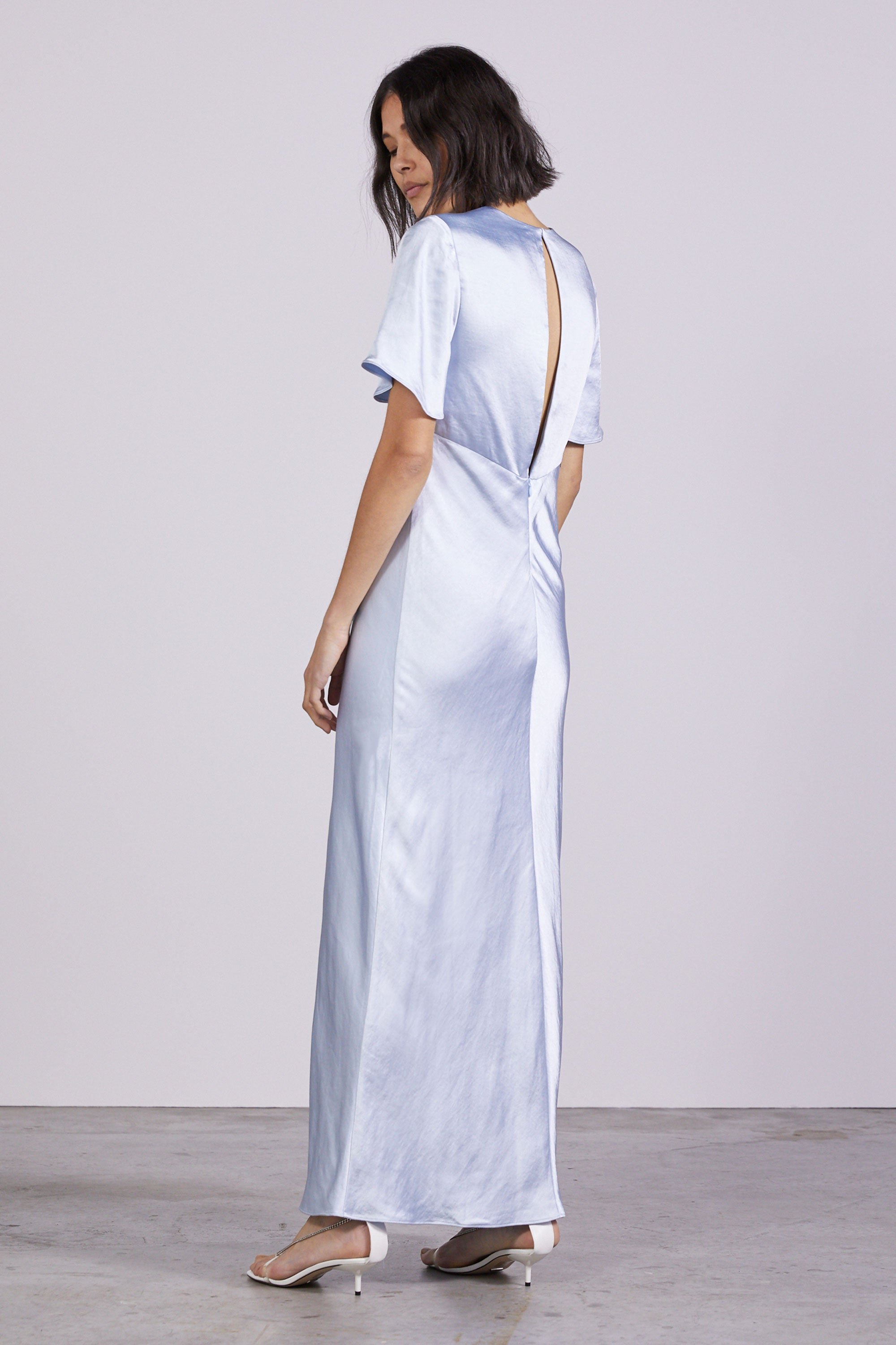 GATHER TEE BIAS MAXI | POWDER BLUE