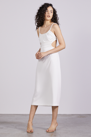 PULL IN MIDI DRESS | OFF WHITE