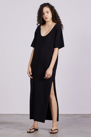 ROLL UP KNIT MAXI TEE DRESS | BLACK