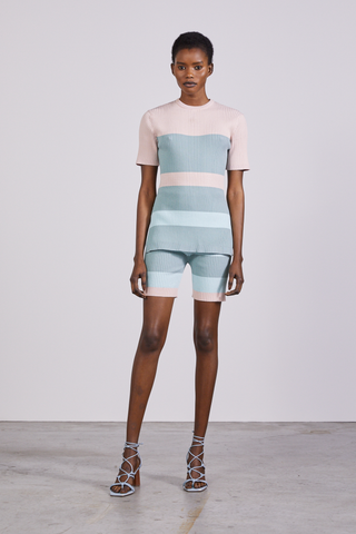 CANDY BAR KNIT MINI SHORT | STRIPE