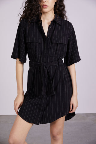 PICNIC STRIPE SHIRT DRESS | BLACK STRIPE