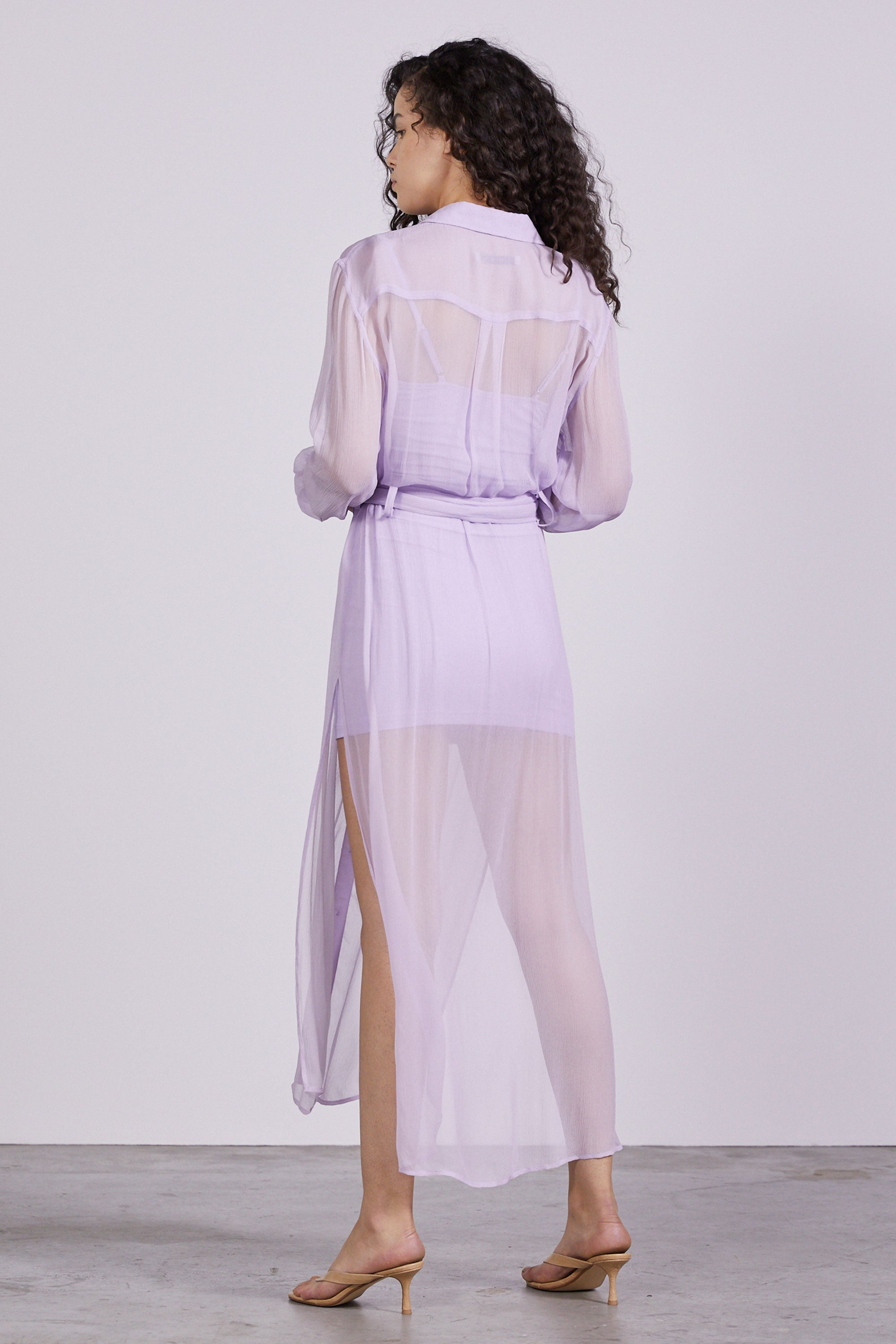 SHEER LOVE SHIRT DRESS | LAVENDER