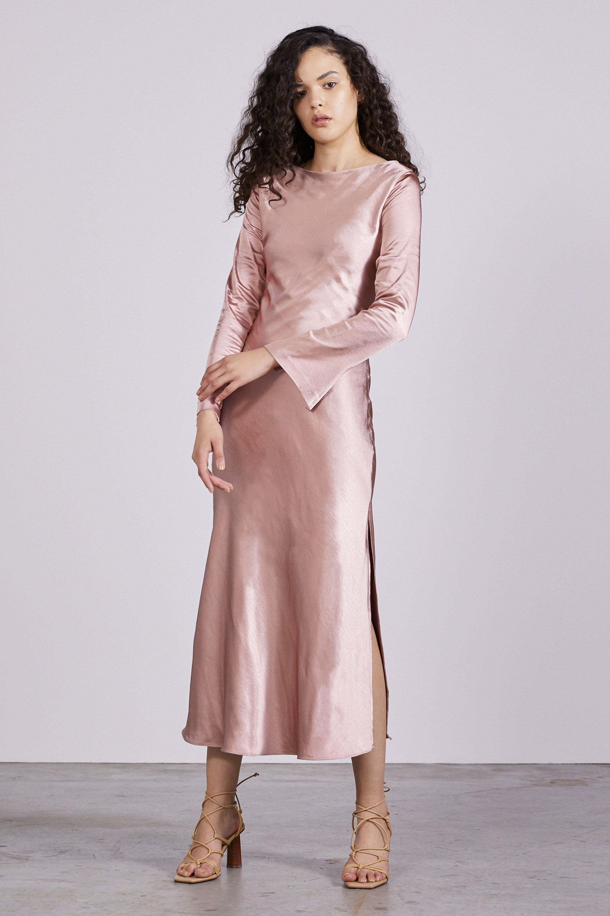 TIE BACK BIAS MAXI | BLUSH