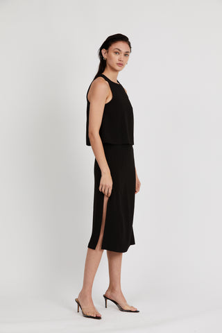 DOUBLE UP HIGH NECK DRESS | BLACK