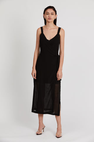 CRUSH WRAP MAXI DRESS | BLACK